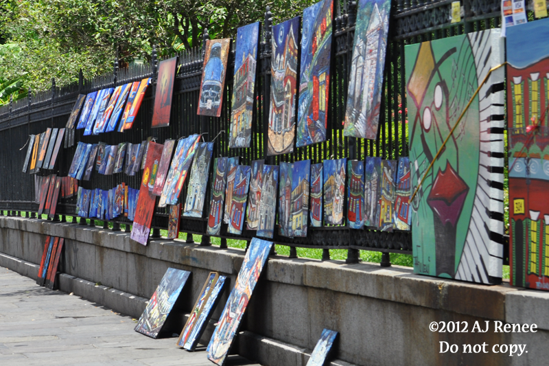 Art in Jackson Square in the French Quarter, New Orleans.