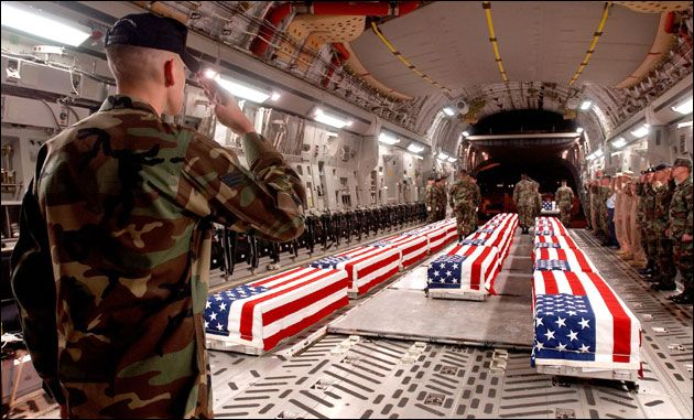 Memorial Day American soldiers return Coffin Flag Sent home